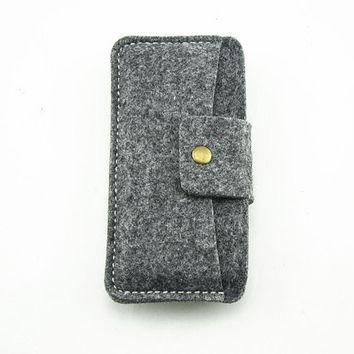 Felt sleeve wallet with card holder for iphone 5 4 4s iPod touch 4 5 unisex