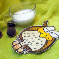Unique leather hand painted coaster OOAK coaster. OWL by julishland