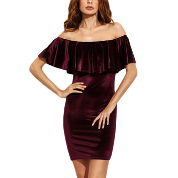 Autumn Vintage Burgundy Ruffles Off The Shoulder Velvet Bodycon Dress Sexy Women Elegant Evening Party Club Wear Mini Dresses M3