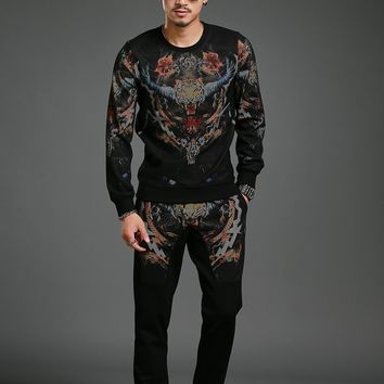 autumn of the new leisure fashion personality tracksuit long sleeved men set two piece suit big size 4XL western design DT887