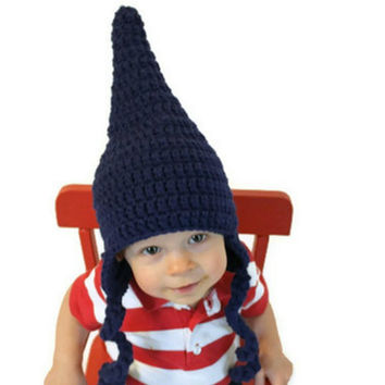 Crochet Gnome or Pointy Elf Hat for baby, toddler, children