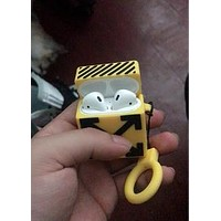 OFF-WHITE street fashion men and women airpods wireless Bluetooth headset shell yellow