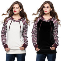[2 COLORS] 2016 NEW Arrival Fashion Tribal Bottoming Pocket Long-sleeved Hooded Sweater Winter Coat [7940059271]