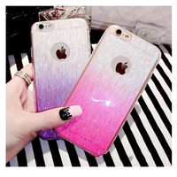 Glitter Drawing Soft Gradual change TPU Silicon Brushed Clear Case Protective Cover For iPhone 5 5S 6 6S 6 6S Plus