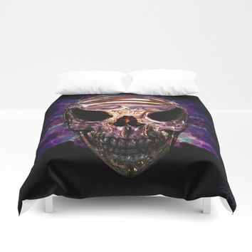 Pirate skull Duvet Cover by Knm Designs
