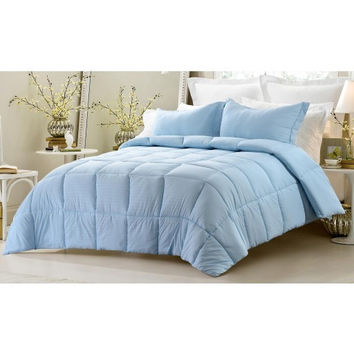 3PC Reversible Solid/ Emboss Striped Comforter Set- Oversized & Overfilled ( 2 Bedding Looks in 1) - Blue in Twin/Twin XL Size