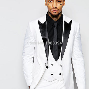 2016 New Arrival Prom Suits Party Clothing Black Peaked Lapel White Suit For Wedding Mens Suits Wedding Groom Tuxedos Groomsman