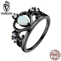 VOROCO Popular Genuine 925 Sterling Silver My Princess Queen Crown Opal Black Finger Rings for Women Fine Jewelry VSR069
