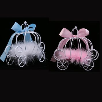 2pcs Set Pumpkin Carriage Chocolate Candy Boxes for Birthday Wedding Favor