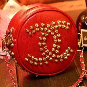 Chanel fashion personality rivets new female bag diagonal shoulder chain lovely small bag mini bag