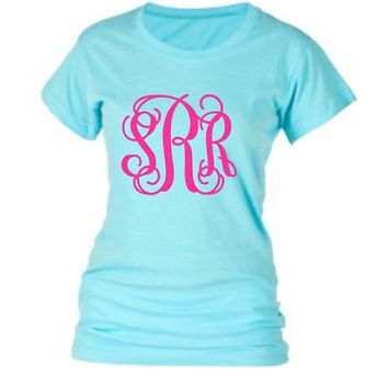 Glitter Monogram T Shirt, Shirt Short Sleeve Personalized T Shirt, Cheer Southern, Monogrammed gifts, Bridesmaids,Women, Girls, Teens