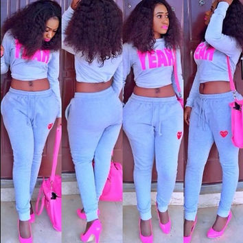 "Blue ""YEAH"" Crop Top Drawstring Pants Set"
