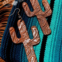Tooled Leather Cactus Earrings from Crazy Train