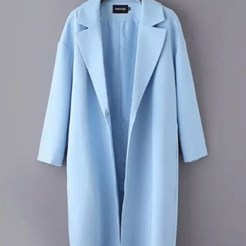 Notched Collar Long Sleeve Single Buttoned Long Coat