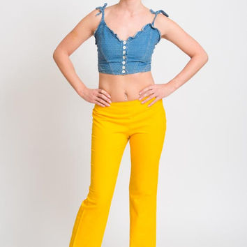 1990's Yellow Pants - Vintage 1970's Flared Pants Bell Bottoms Low Waist Boho Pants Hippie Bell Trousers Size M