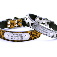 Leopard Dog Collar with Laser Engraved Nameplate