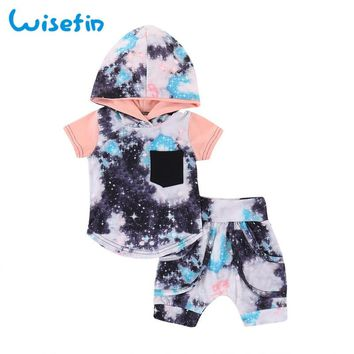 Wisefin Newborn Baby Boy Clothes Set Star Printed Hooded T Shirts+Shorts Toddler Girl Outfits 2Pcs Infant Summer Clothing Set
