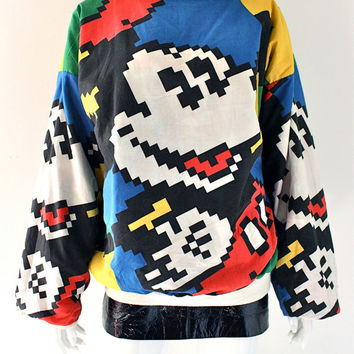 vintage 80s 90s Pixelated digital CYBER Reversible Mickey Mouse POP ART Jumper sweater jacket