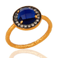 Handmade 22K Gold Plated 925 Sterling Silver Designer Blue Corundum Ring With CZ