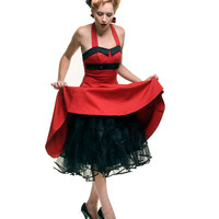 BEST SELLER! 50's Style BLACK Tulle Tea Length Petticoat Crinoline Slip-One Size fits Most - Unique Vintage - Cocktail, Pinup, Holiday & Prom Dresses.