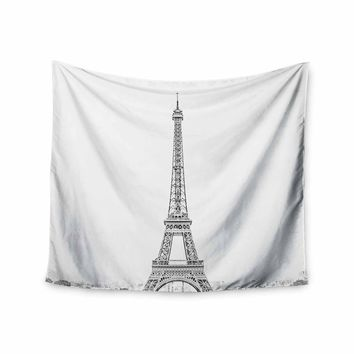 Paris - Black White Travel Photography Wall Tapestry