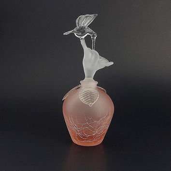 Pink Crackle Glass Hummingbird Perfume Bottle Golden Crown E&R Made In West Germany