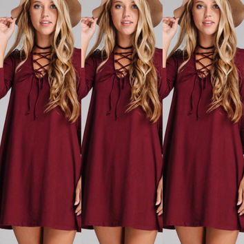 Criss Cross Swing Dress in Wine-PREORDER SHIPS 10/15/16