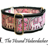 Martingale Collaar: Pink Elephants Jacquard (2 inch), Greyhound Collar, Whippet Collar, Indian Elephants, Custom Dog Collars