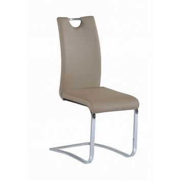 Chintaly Josephine Cantilever Upholstered Handle Back Side Chair In Taupe