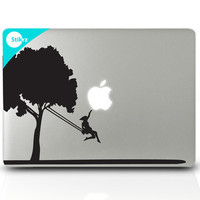 MAC DECAL vinyl laptop stickers Wall Computer Geekery Nature Decal - Tree Swing - 163