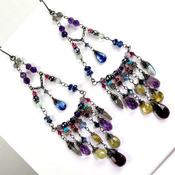 Bohemian Long Chandelier Earrings Wire Wrap Gemstone Sterling Silver