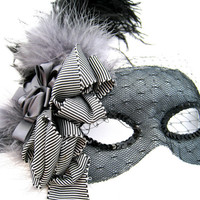 Black and Gray Masquerade Mask- with feathers and veil