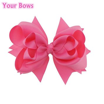 Your Bows 1PC 5 inches Kids Hair Bows 3 Layers Solid Hot Pink Bows Hair Clips Boutique Ribbon Bows For Girls Hair Accessories