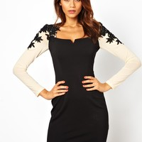 Little Mistress Pencil Dress with Embellished Sleeve