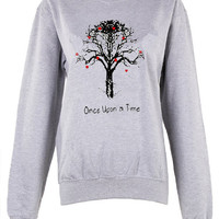 Once upon a time crew neck shirt unisex womens mens ladies  print  sweatshirt harry potter hogwarts