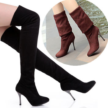 Women Stretch Faux Suede Slim Thigh High Boots Sexy Fashion Over the Knee Boots High Heels Woman Autumn Winter Shoes Black Brown