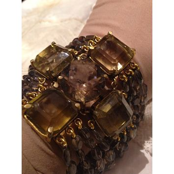 Handmade Vintage 925 Sterling Silver Gothic Genuine Citrine Cross and Smoky Quartz Bracelet