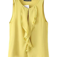 Sleeveless Rufflued Chiffon Tank