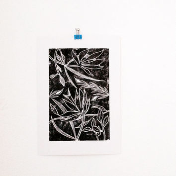 Botanical Linocut Print, Black and White Flower Art Print, Tropical Wall Art, Nature Lover Gift