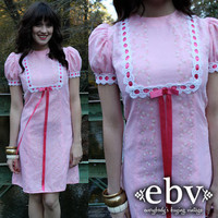 Vintage 70's Pink Floral Babydoll Puff Sleeve Mini Dress S M