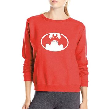 Anime Totoro VS American Batman Sweatshirt Mashup Funny Hoodies Women 2017 Autumn Kawaii Women's Sweatshirts O-Neck Pullovers