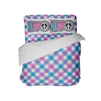 Kids Preppy Comforter with Peace Sign Pillowcases from Kids Bedding Company