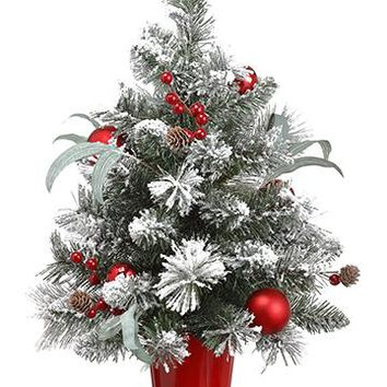 "Snowy Fake Christmas Pine Tree in Red Pot - 24"" Tall"
