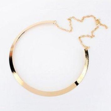 IF ME Fashion Gold Color Simple Metal Bib Necklace Statement Jewelry for Women Choker Necklaces Collar Jewlery Gift