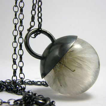 Dandelion Puffy Magic Necklace, Dandelion Pendant, Sterling Silver Blowball Necklace with Oxidised Silver Cap, Botanical Jewelry