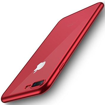 iPhone 7 Plus Case,RANVOO Ultra Slim Thin with Premium Flexible and Transparent Plastic Back Plate Protective Clear Case for Apple iPhone 7 Plus(Red)