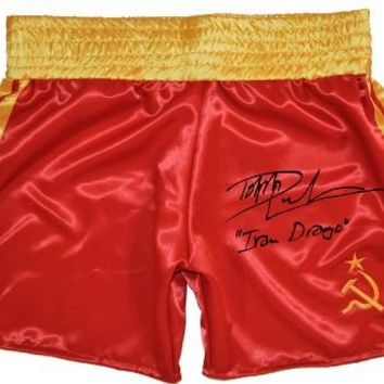 """Dolph Lundgren Signed Autographed """"Ivan Drago"""" Russian Boxing Trunks (ASI COA)"""