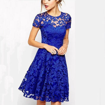 2016 New Arrivals Sexy Club Bodycon Lace Dress Black Slim Short Sleeve O Neck Prom Party Dress Plus Size Women Summer Dress Q416