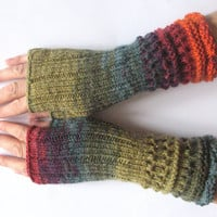 Fingerless Gloves Mittens wrist warmers Purple Blue Burgundy Red Orange Green Moss knit