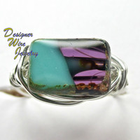 DWJ0179 Lovely Czech Glass Lost Treasure Wire Wrap Ring All Sizes